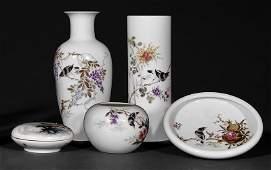 Chinese Famille Rose Porcelain Scholar's Desk Set