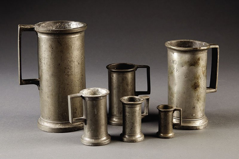 Group of Six French Pewter Measures