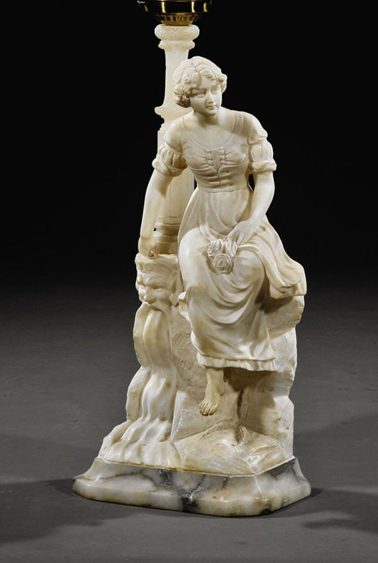 Carved Marble and Alabaster Figural Lamp