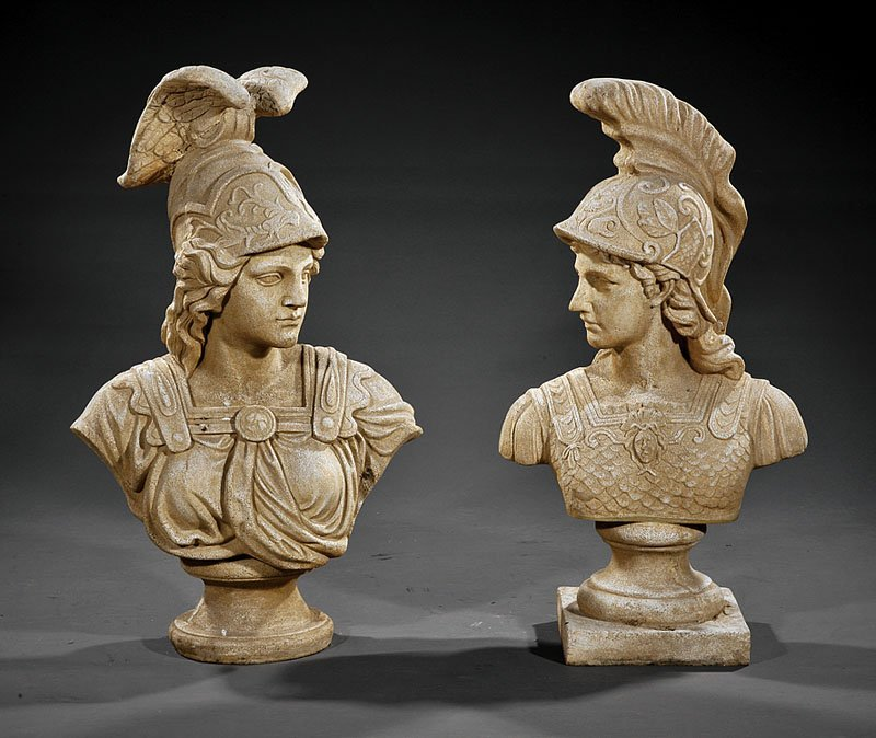 A Pair of Cast Stone Busts of Mars and Minerva