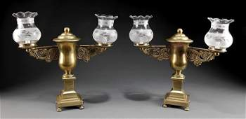 A Pair of American or English Argand Lamps