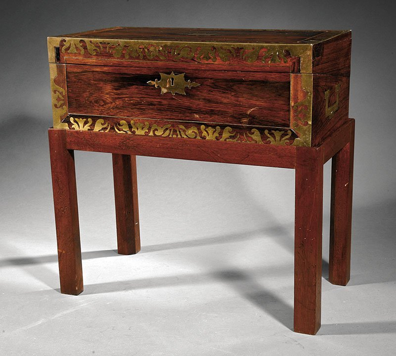 An English Brass-Bound Rosewood Lap Desk