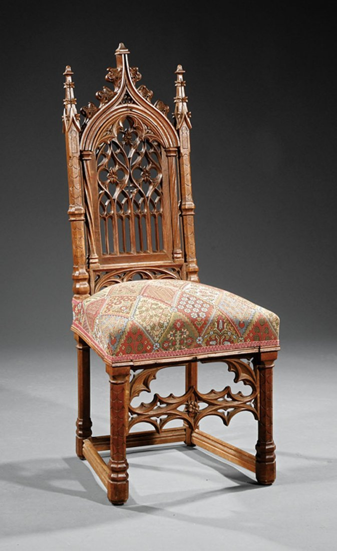 A French Gothic Revival Carved Walnut Side Chair