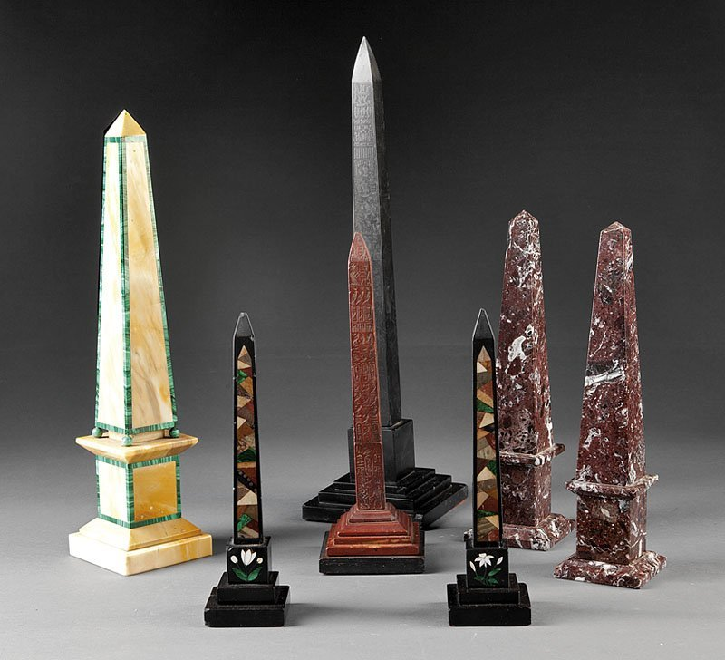A Collection of Seven Grand Tour Marble Obelisks