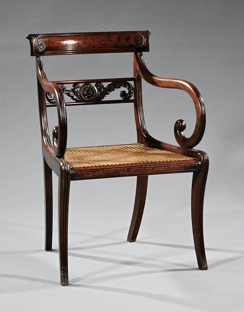 A  Regency Carved Mahogany Armchair