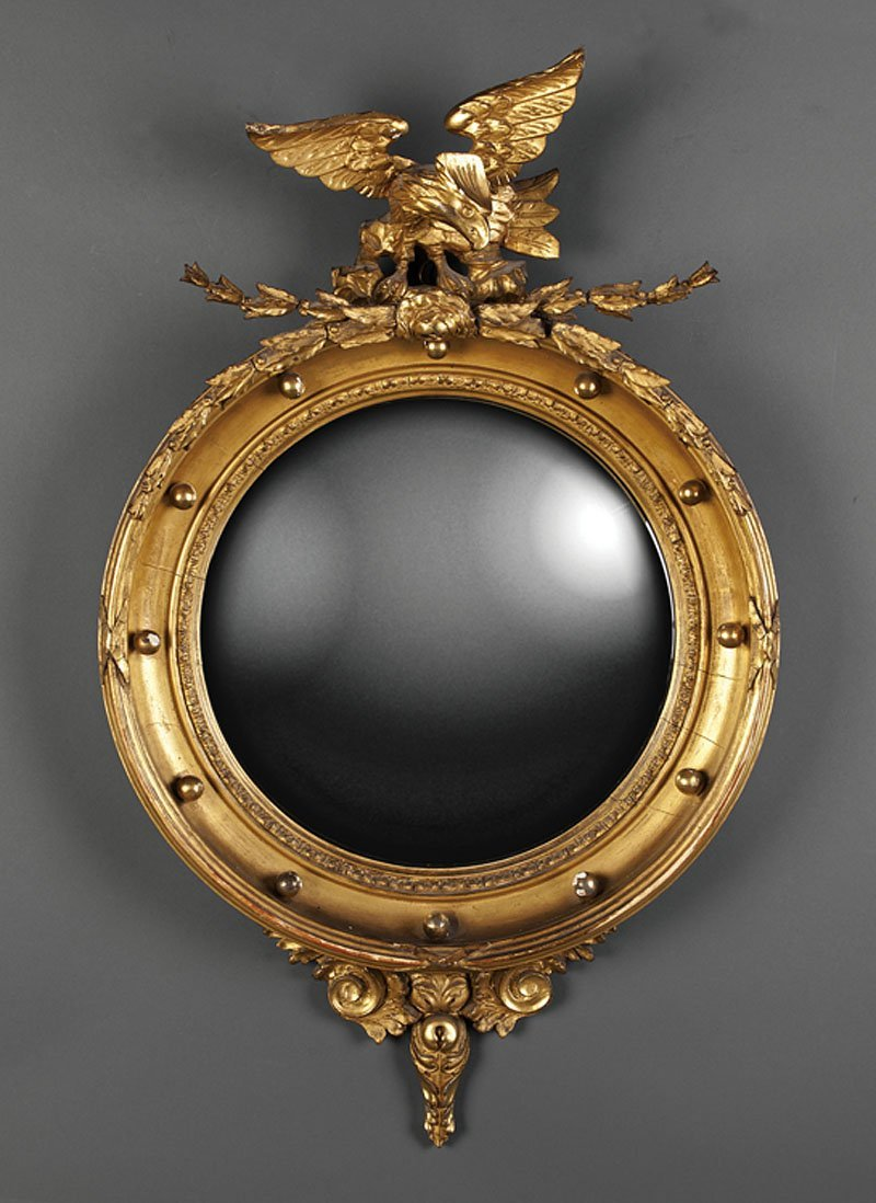 An American or English Carved Convex Mirror