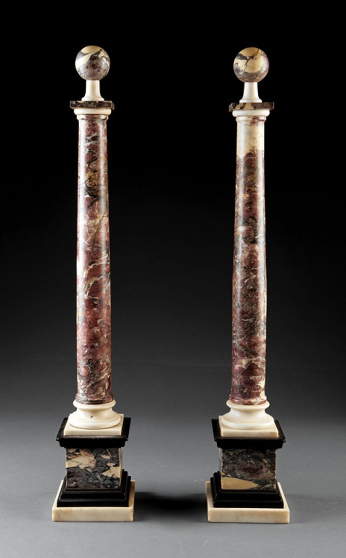 A Pair of Grand Tour Variegated Marble Columns