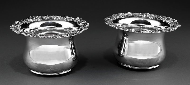 A Pair of Silverplate Magnum Wine Coasters