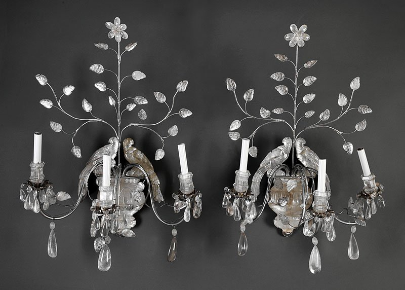 A Pair of Bagues-Style Rock Crystal Sconces