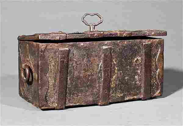 A Continental Wrought Iron Mechanical Strong Box