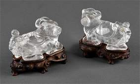 A Pair of Chinese Rock Crystal Figural Groups of
