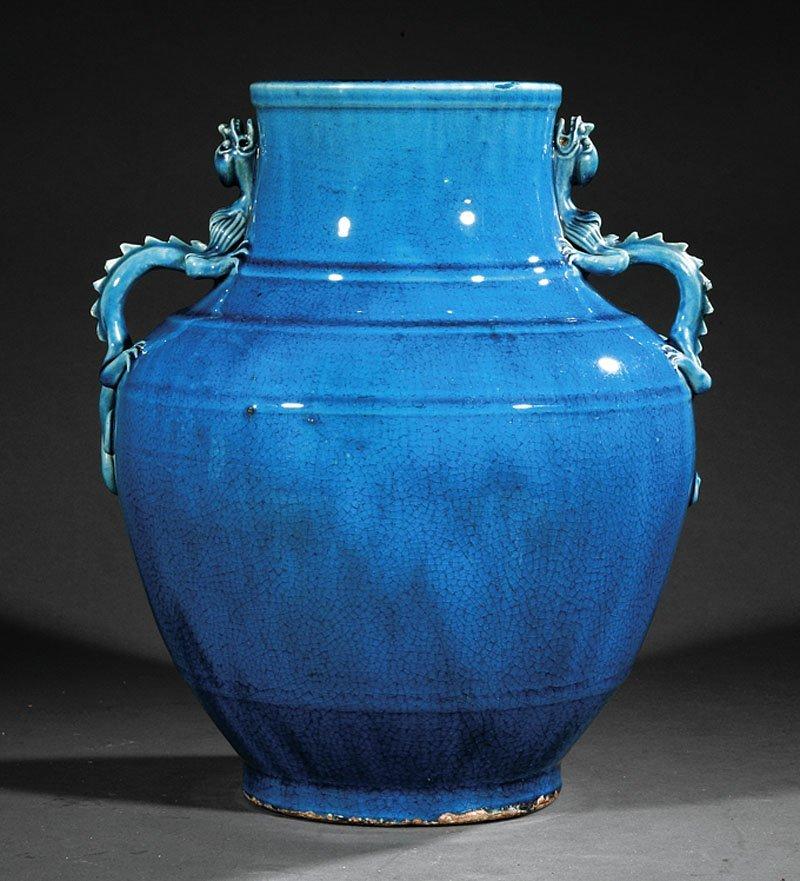 A Chinese Kingfisher Blue Glazed Stoneware Jar
