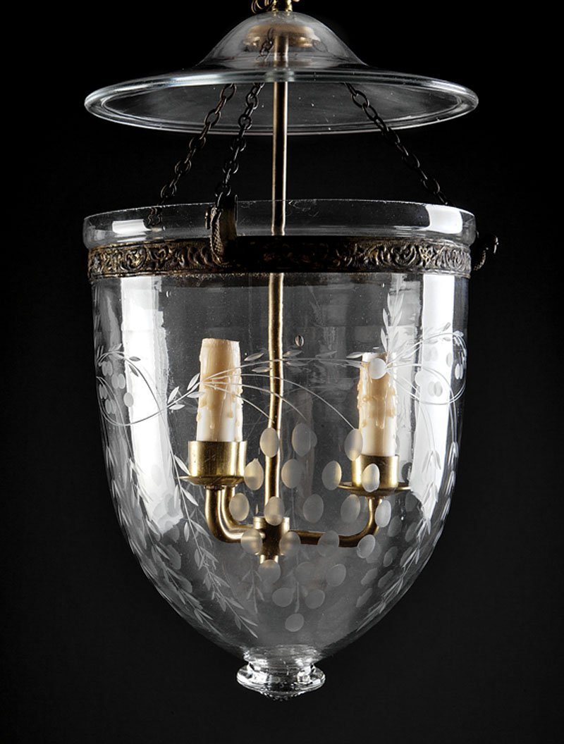 An English Blown and Etched Glass Three-L