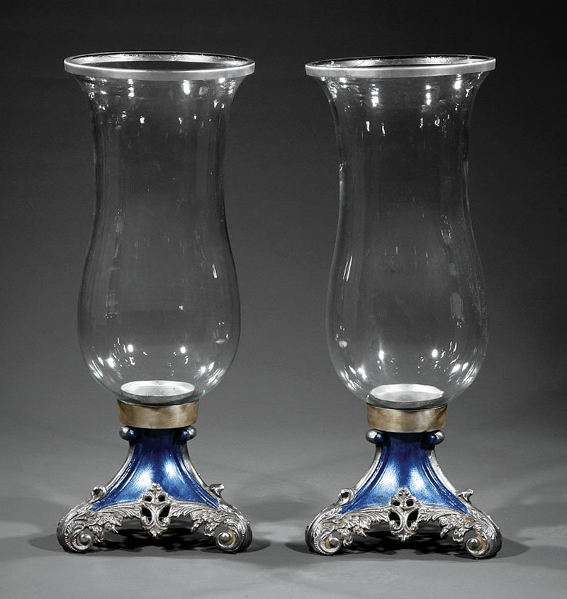 A Pair of Large English Glass Urns