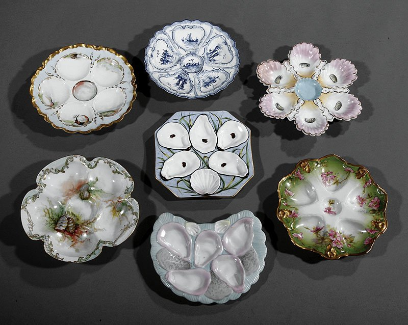 A Group of Six French Porcelain Oyster Pl