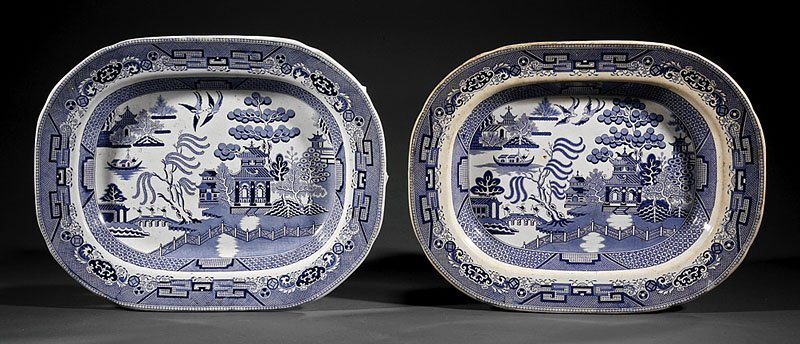 A Pair of Staffordshire Blue and White Pottery Pl