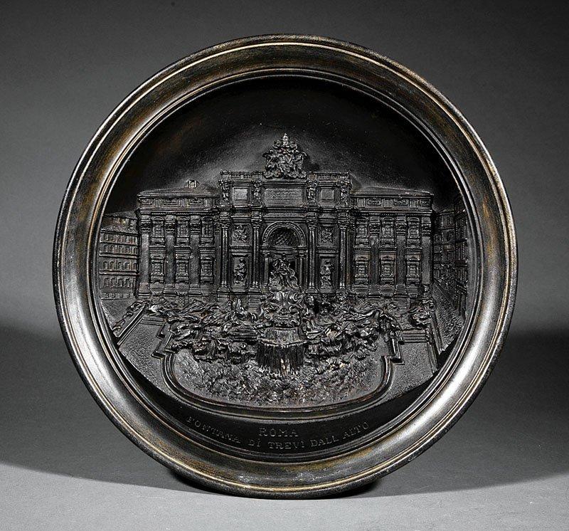 A German Bronze-Patinated Plaster Plaque