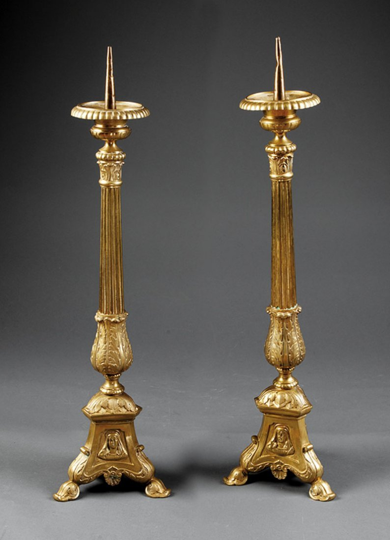 A Pair of Neoclassical-Style Gilt Bronze Pricket
