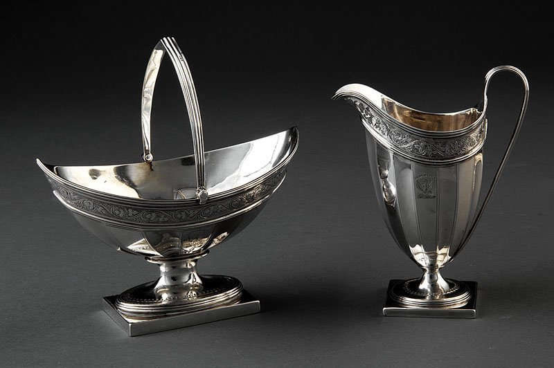 A George III Sterling Silver Sugar Basket and Cre