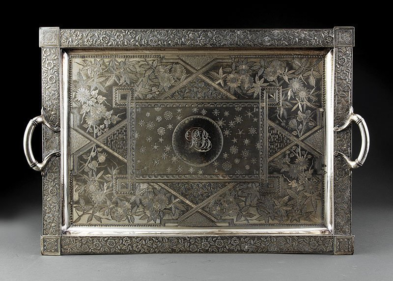 An Aesthetic Movement Silverplate Tea Tray