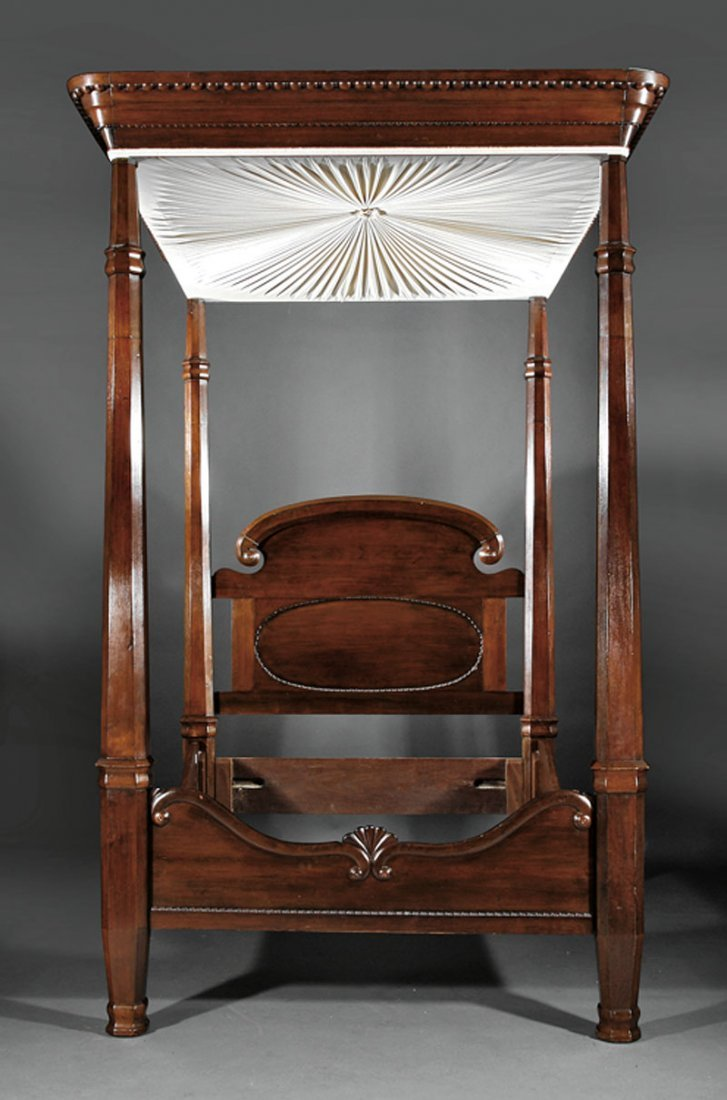 An American Rococo Carved Mahogany Tester Bed