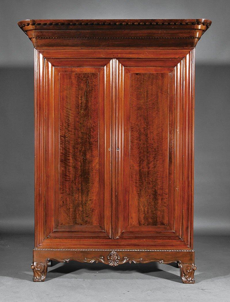 An American Rococo Mahogany Armoire