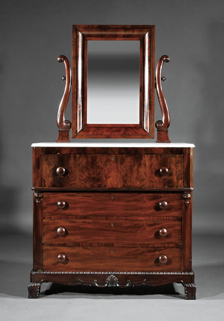 An American Rococo Carved Mahogany Dressing Chest