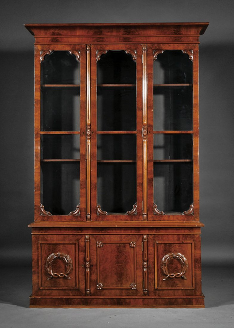 An American Late Classical Carved Mahogany Biblio