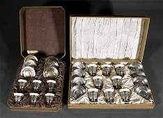 Two Cased Sets of American Sterling Silver and Po