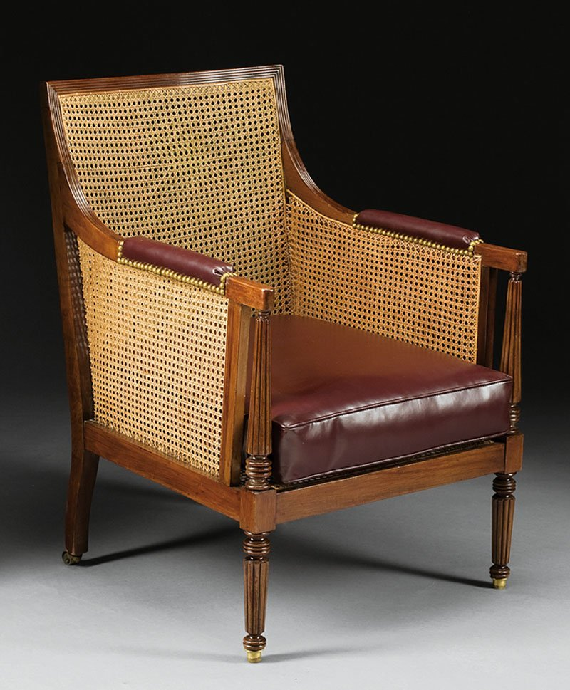 George IV Mahogany and Cane Bergere