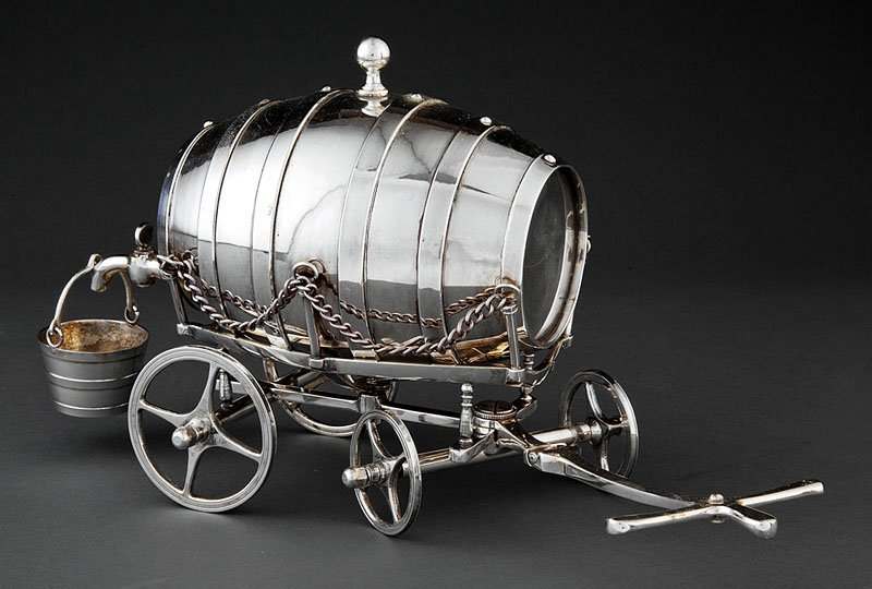 Barrel-Form Silverplate Whiskey Trolley