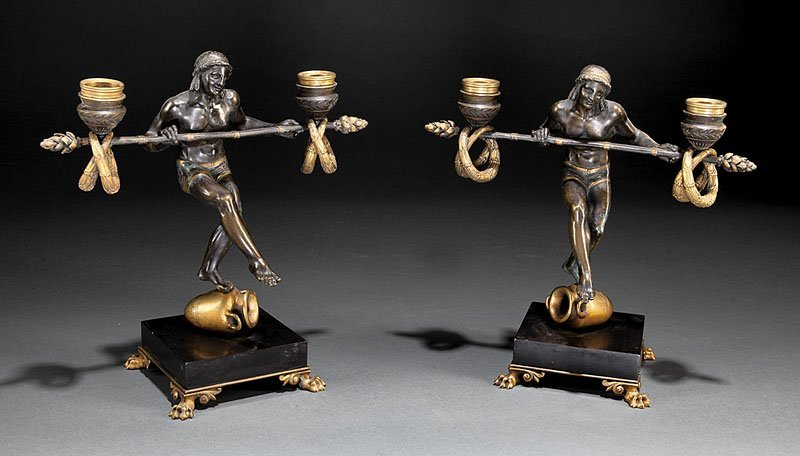 Gilt Patinated-Bronze Figural Candelabra