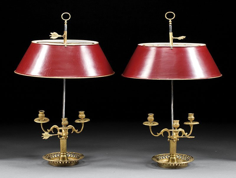 Pair of French Gilt Bronze Bouillotte Lamps