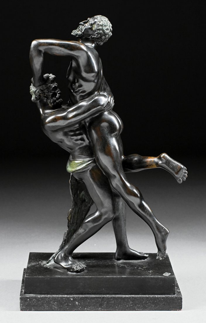 Italian Patinated Bronze of Hercules and Antaeus