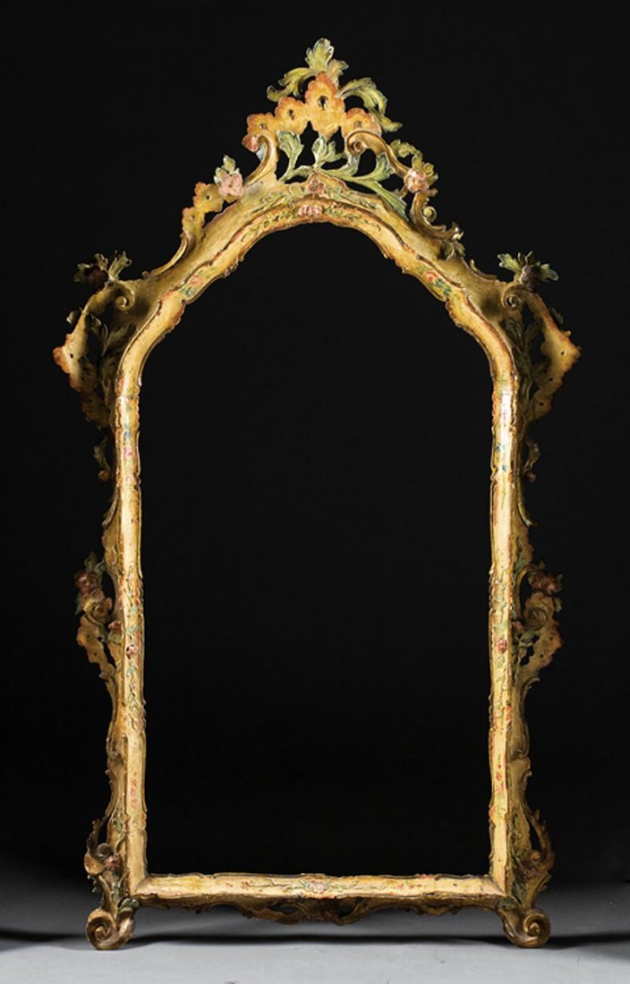 Rococo Carved and Paint-Decorated Mirror