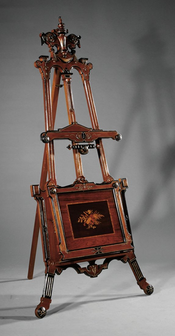 Walnut and Marquetry Easel attr. Kilian Brothers