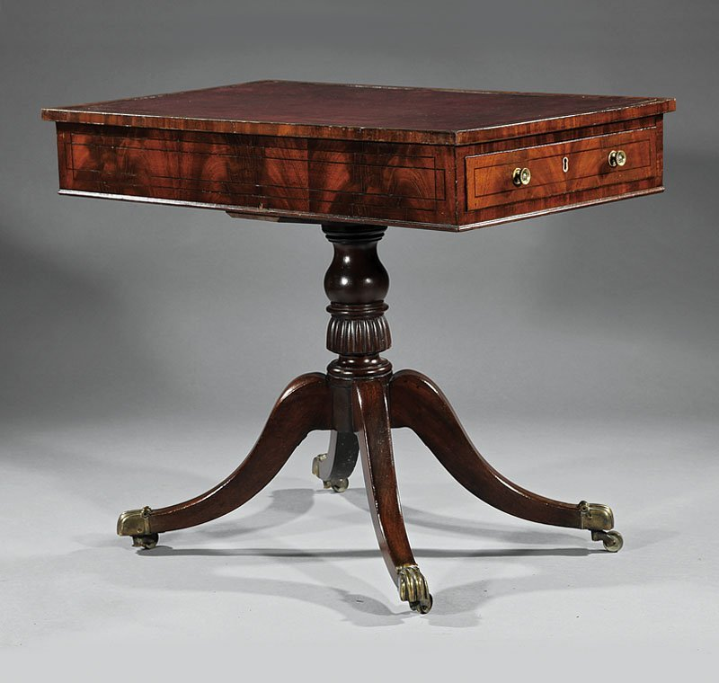 Ebony Inlaid Mahogany Library Table