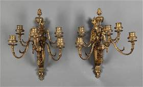 F Barbedienne Gilt Bronze FiveLight Sconces