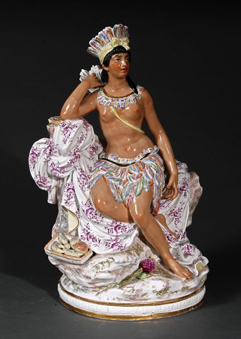 French Porcelain Allegorical Figure of America