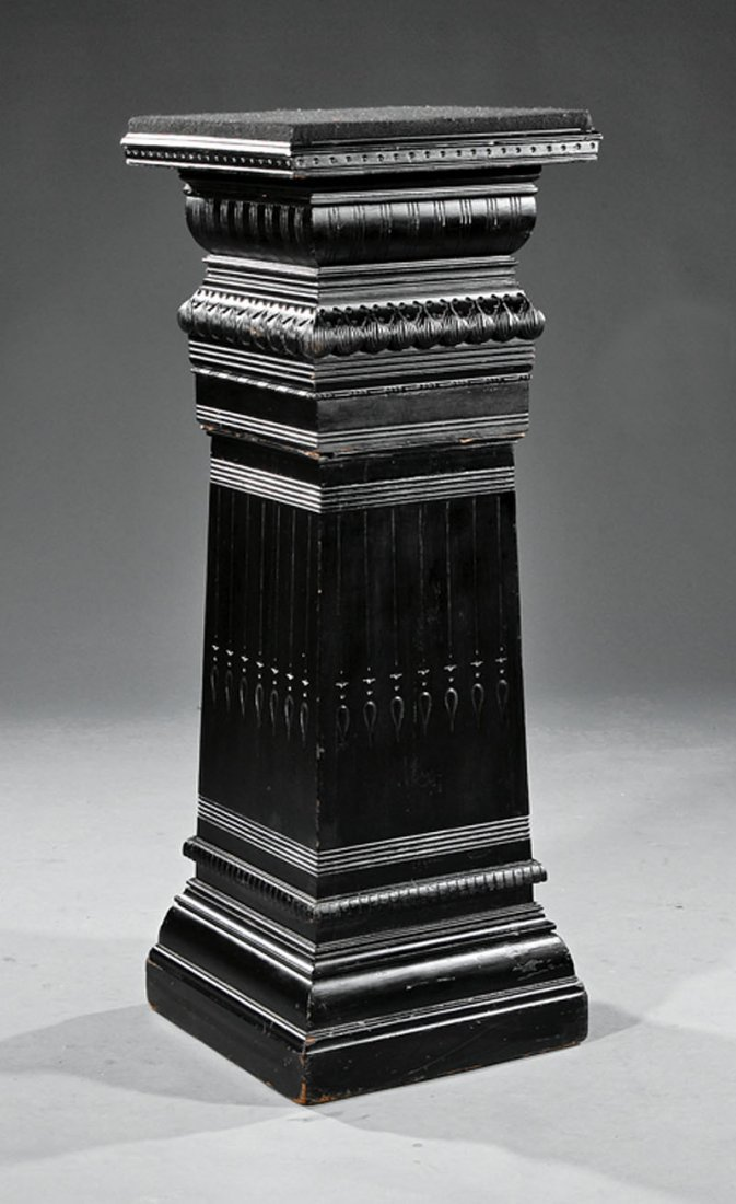 Aesthetic Carved, Incised and Ebonized Pedestal