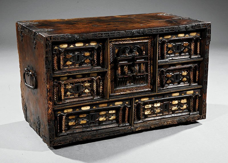 Inlaid, Parcel-Gilt Carved Walnut Table Cabinet