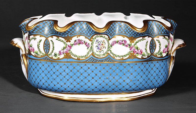 """Sevres"" Gilt and Polychrome Porcelain Verriere"
