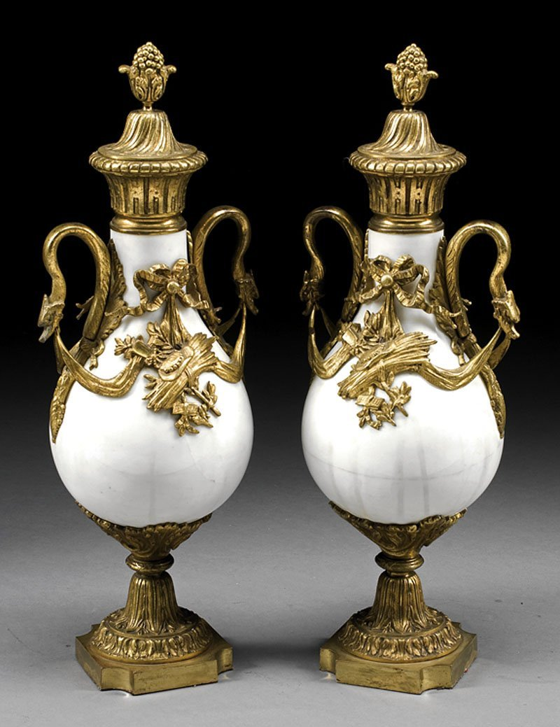Gilt Bronze-Mounted Marble Cassolettes