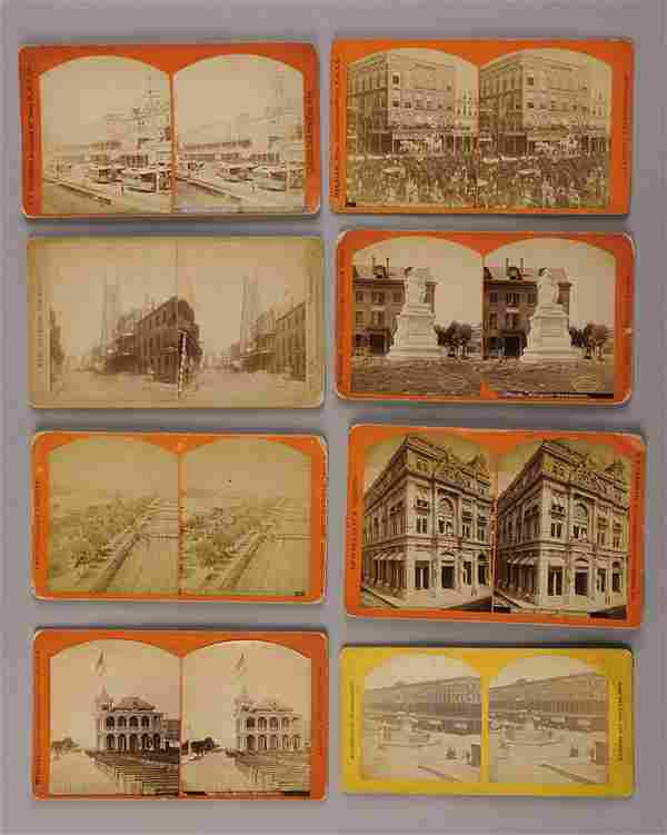Eight Albumen Stereograph Photographs New Orleans