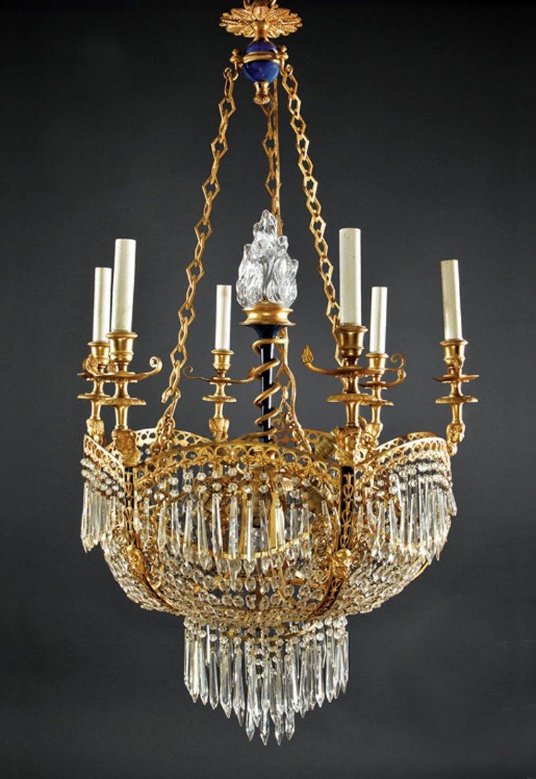 Vian Gilt Bronze Enamel Glass Chandelier