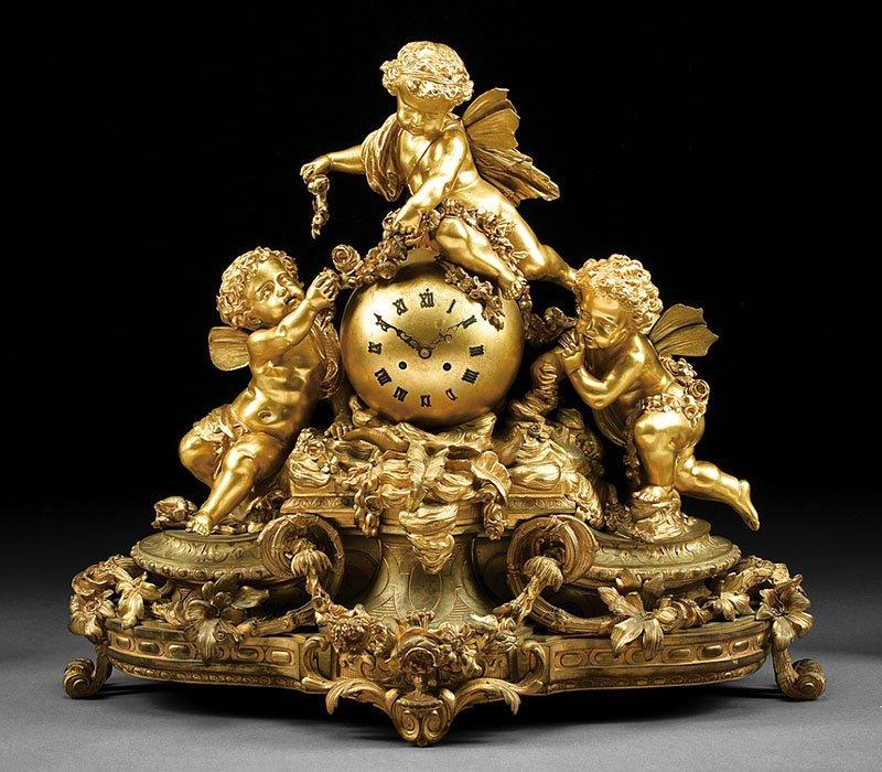 Gilt-Bronze Mantel Clock, Vincenti & Cie