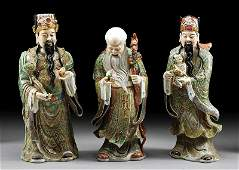 "Chinese Famille Verte ""Fu Lu Shou"" Figures"