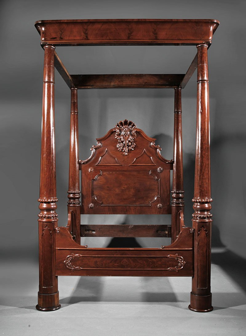 American Rococo Carved Mahogany Tester Bedstead