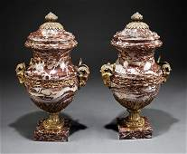 Continental Gilt Bronze-Mounted Marble Urns