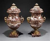 Continental Gilt BronzeMounted Marble Urns